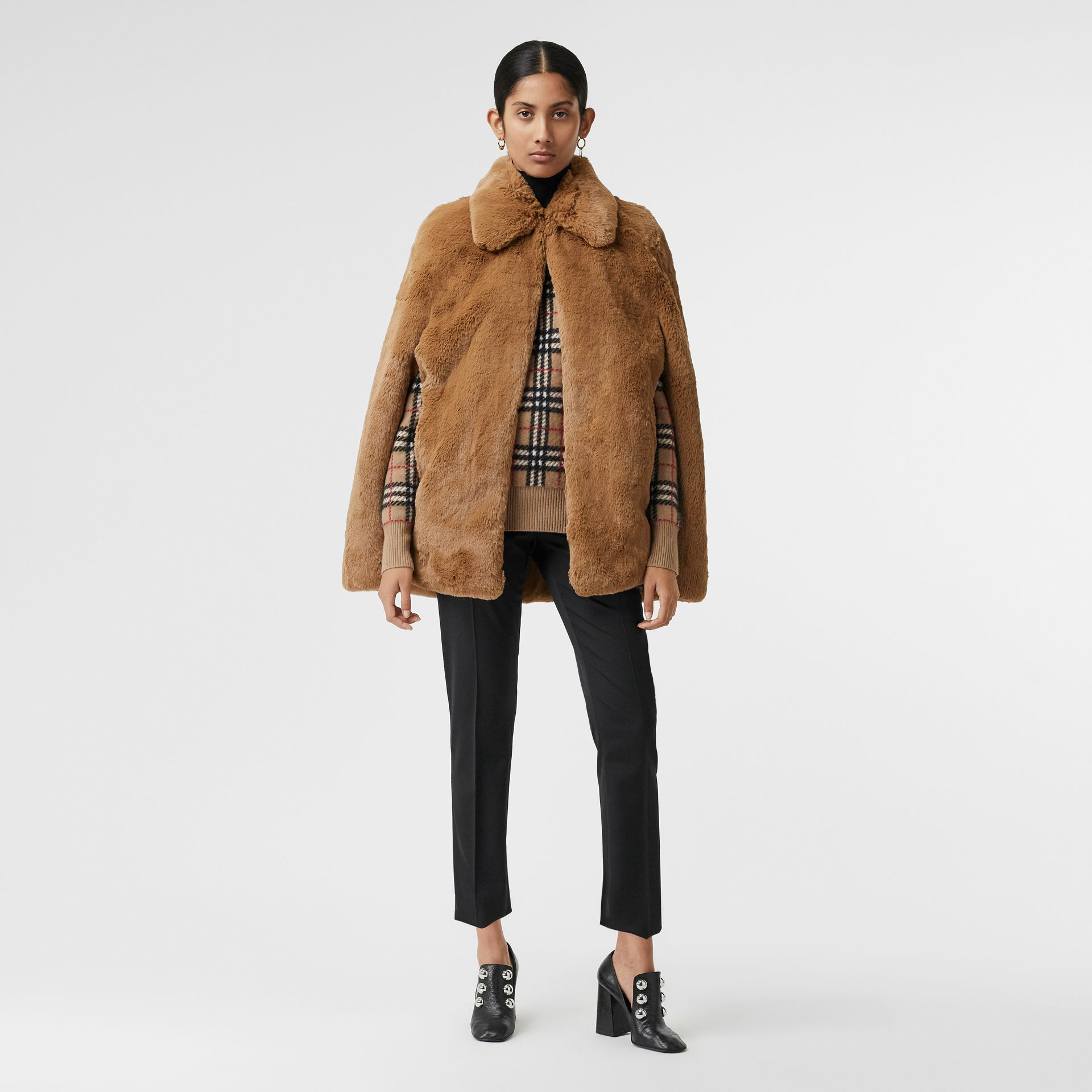 Faux Fur Cape in Camel - Women | Burberry United States - gallery image 0