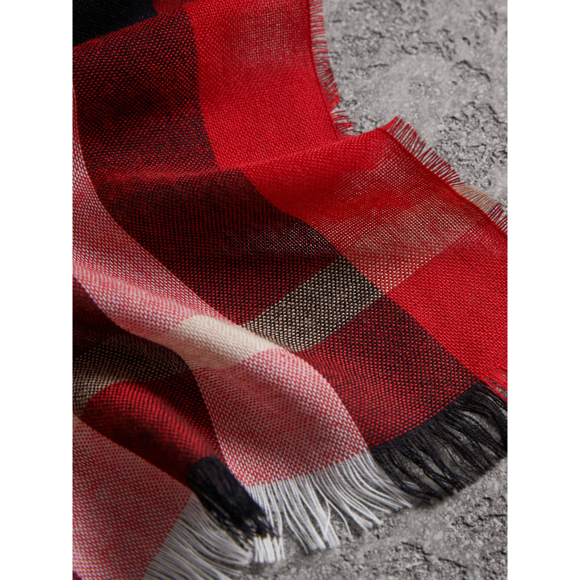 Lightweight Check Wool Cashmere Scarf in Parade Red | Burberry Australia - gallery image 2