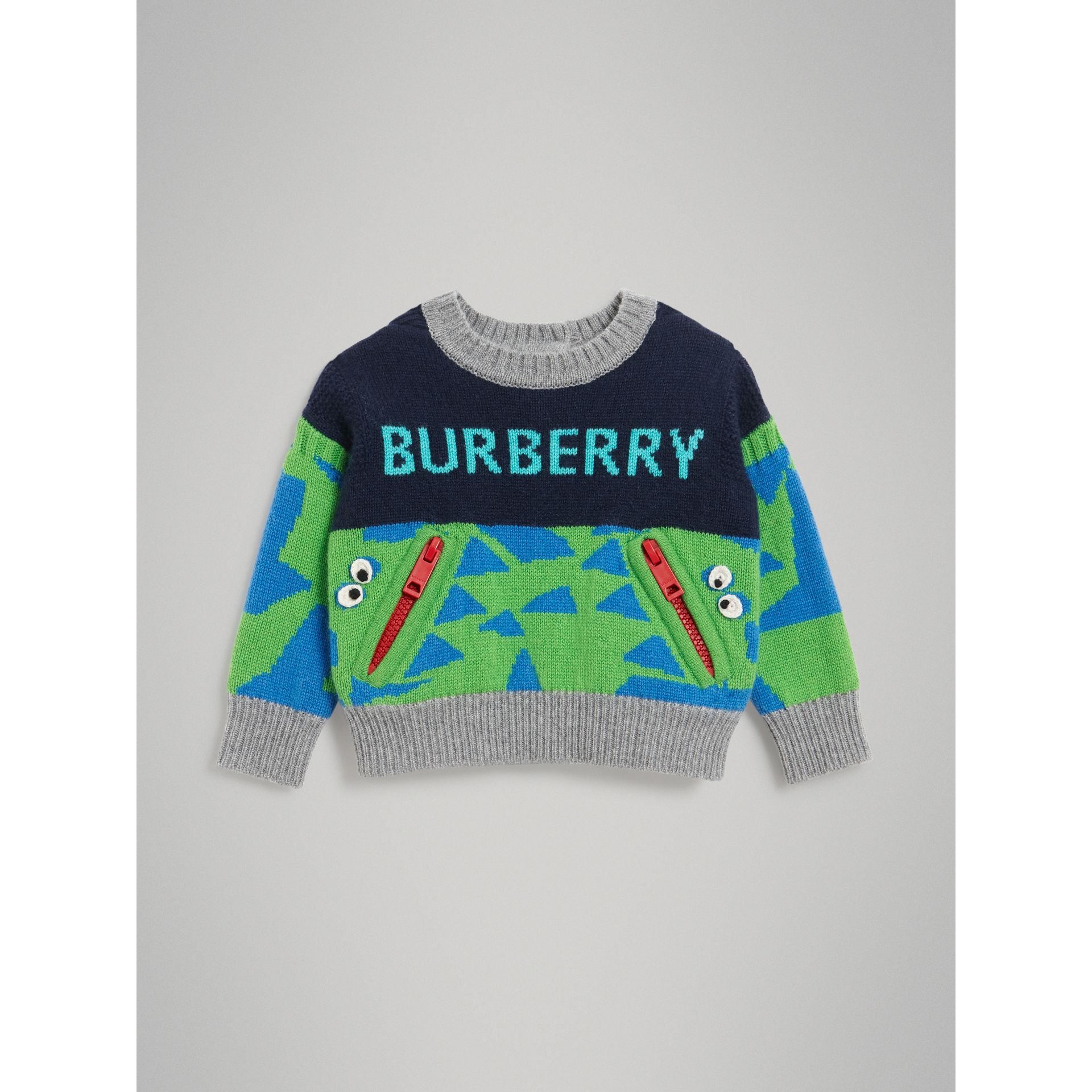 Monster Detail Intarsia Cashmere Sweater in Navy - Children | Burberry Canada - gallery image 0