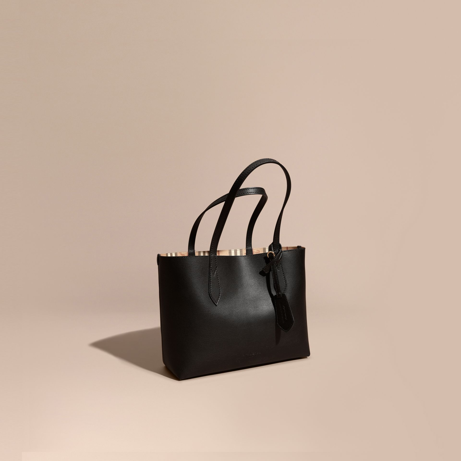 The Small Reversible Tote in Haymarket Check and Leather in Black - Women | Burberry - gallery image 1