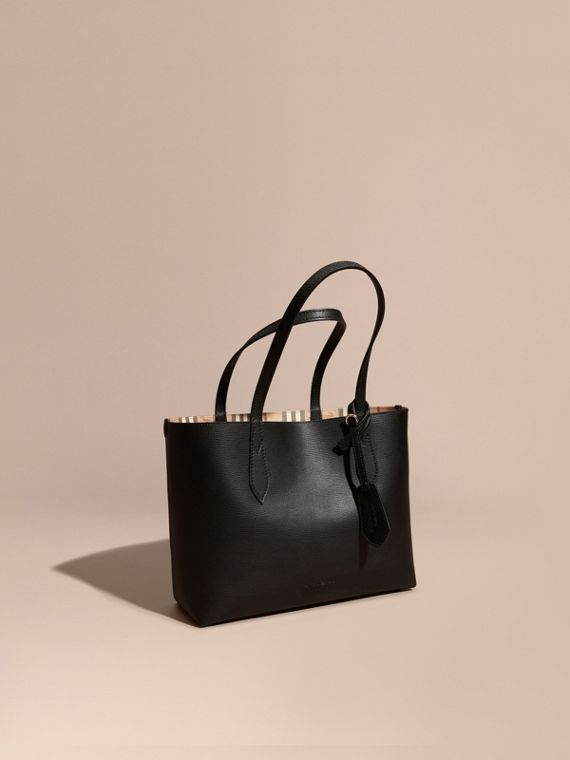 The Small Reversible Tote in Haymarket Check and Leather Black