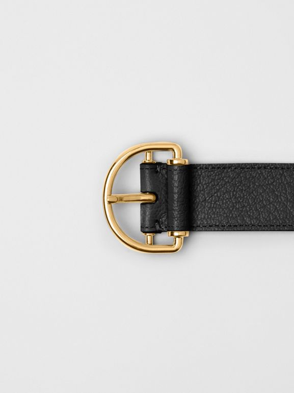Grainy Leather D-ring Belt in Black/cornflower - Women | Burberry - cell image 1