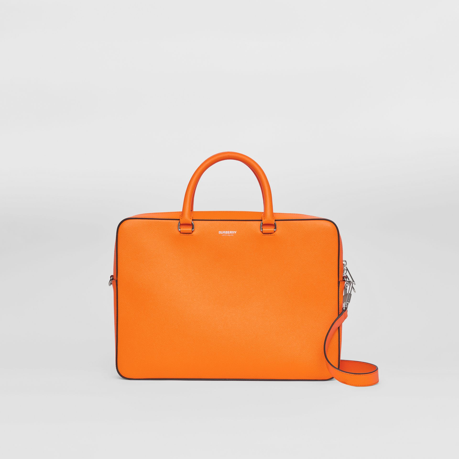 Grainy Leather Briefcase in Bright Orange - Men | Burberry - gallery image 0
