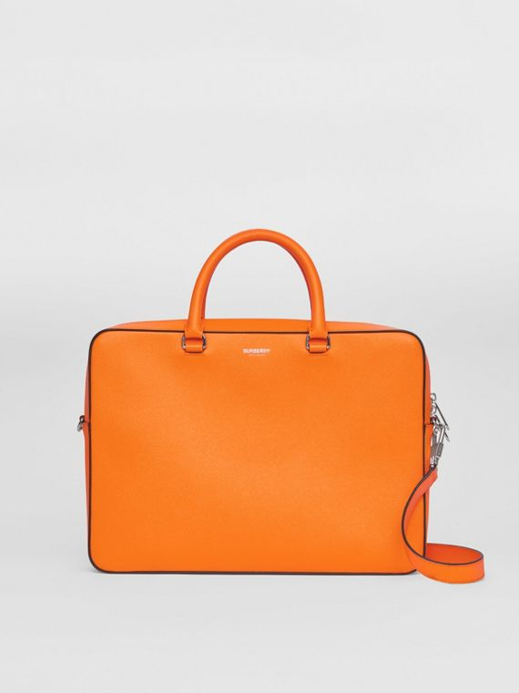 Grainy Leather Briefcase in Bright Orange