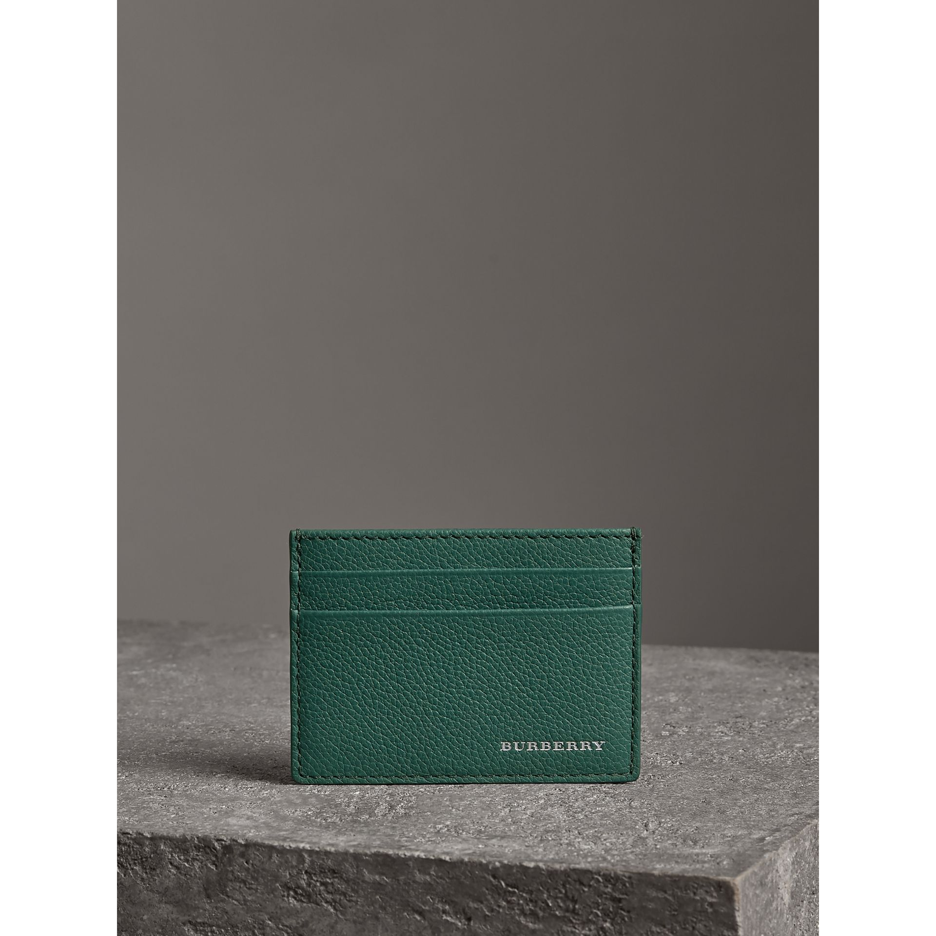 Grainy Leather Card Case in Dark Cyan | Burberry - gallery image 3