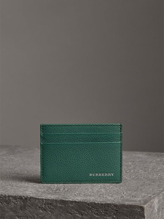 Grainy Leather Card Case in Dark Cyan | Burberry Australia - cell image 3