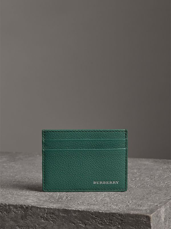Grainy Leather Card Case in Dark Cyan | Burberry - cell image 3