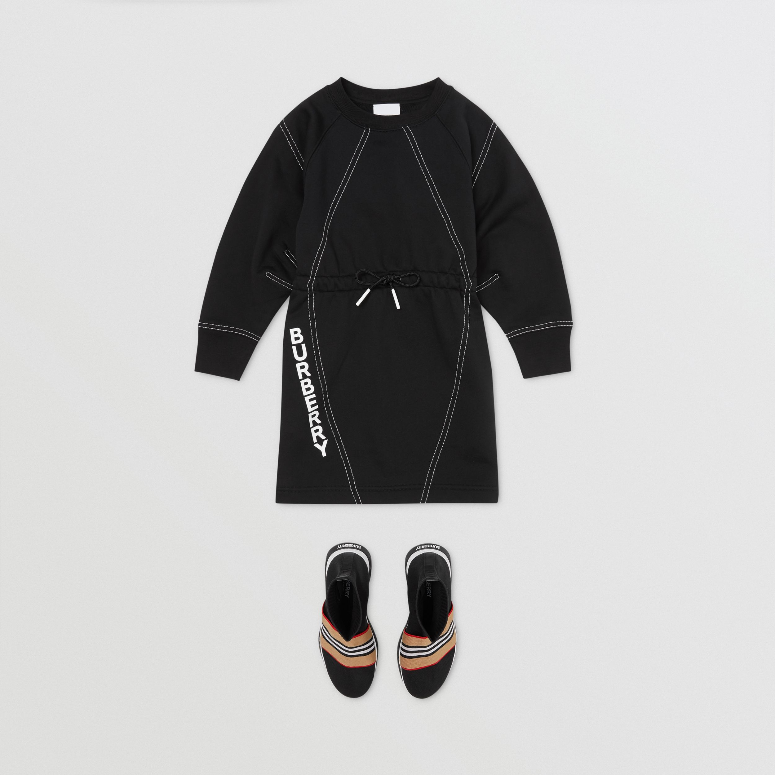 Long-sleeve Logo Print Cotton Dress in Black | Burberry - 3