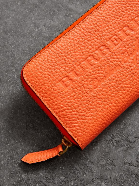 Embossed Leather Ziparound Wallet in Bright Orange - Women | Burberry - cell image 1