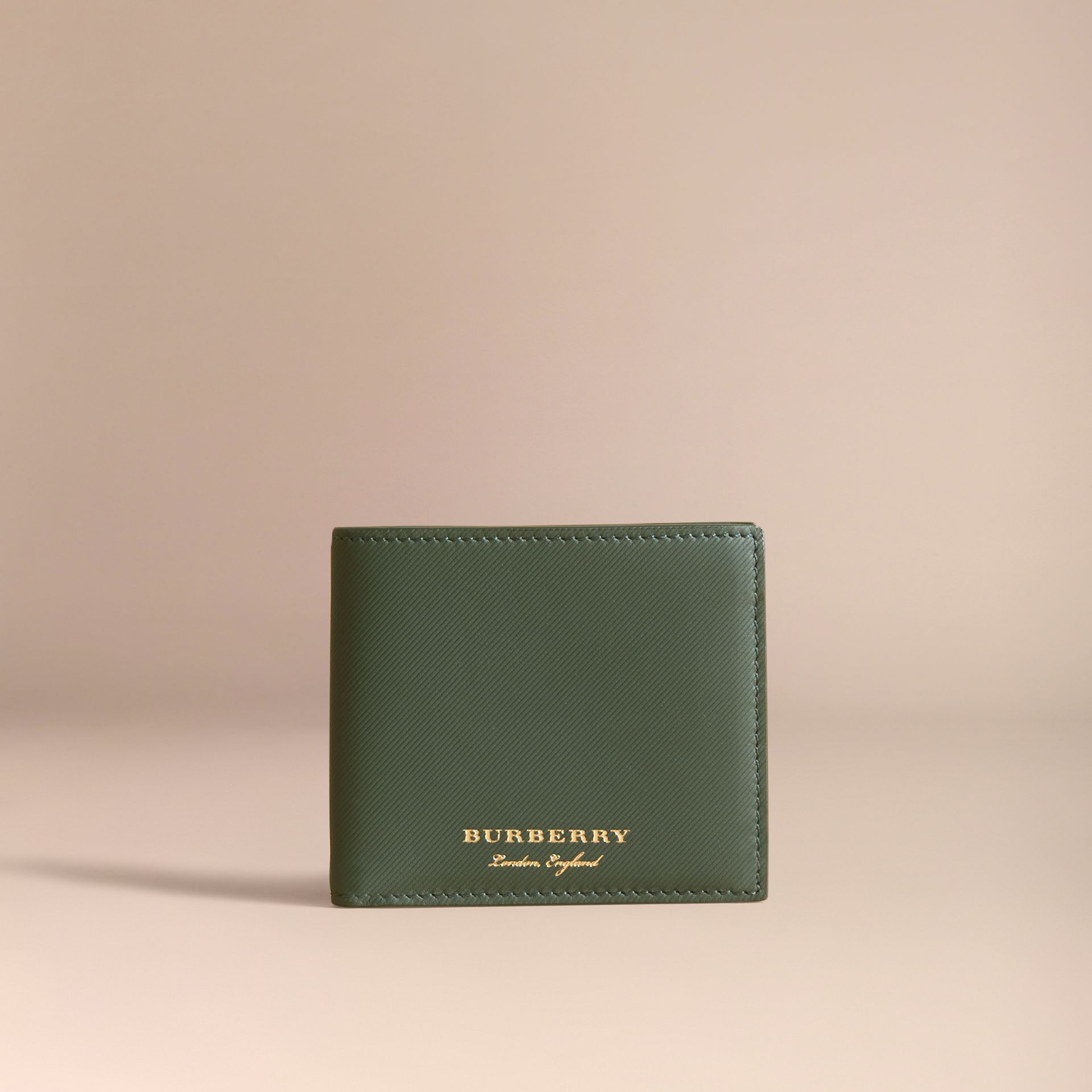 Trench Leather International Bifold Wallet in Dark Forest Green - Men | Burberry Hong Kong - gallery image 6