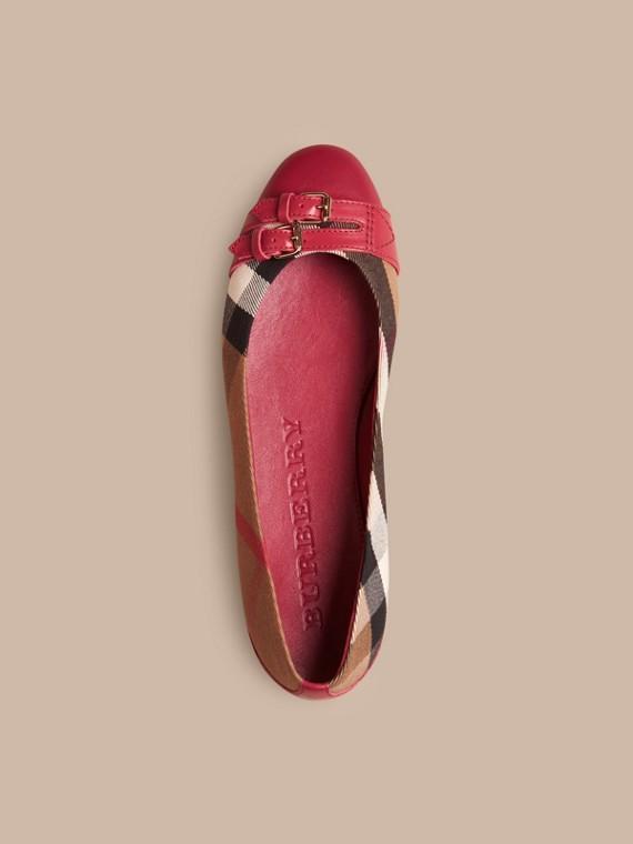 Vermelho russet Ballerinas com fivela estilo equestre e padrão House check - cell image 2