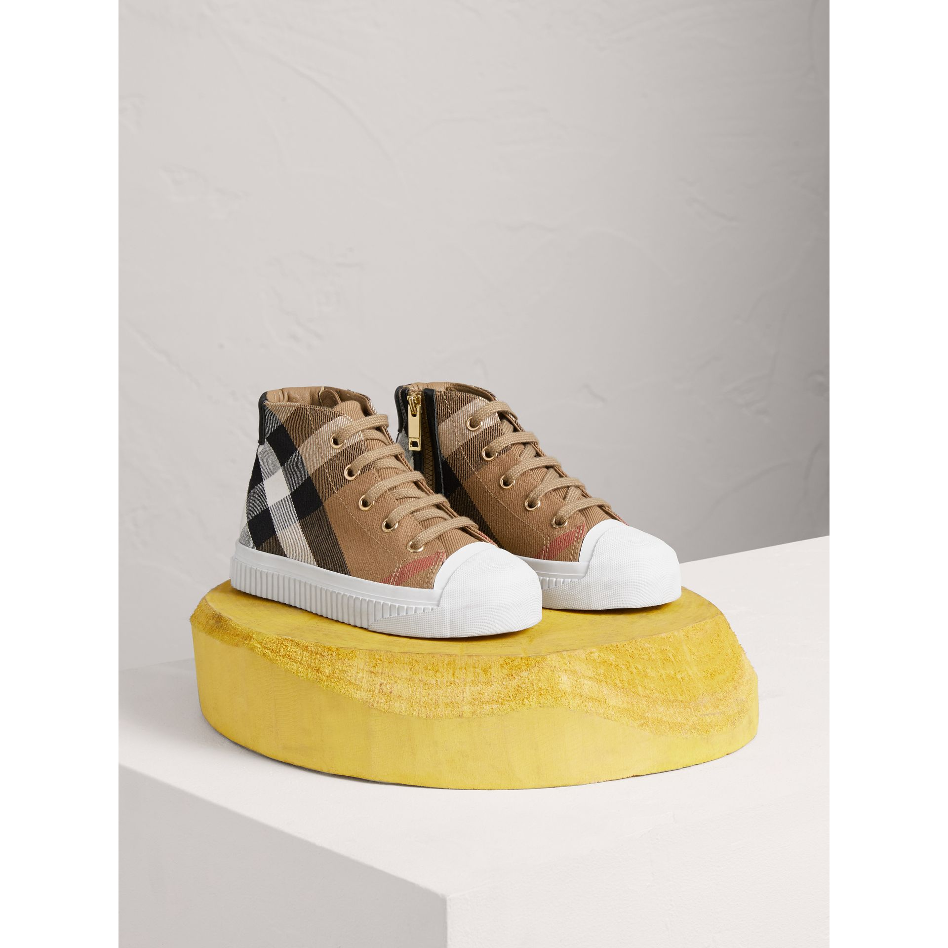 House Check and Leather High-top Sneakers in Classic/optic White | Burberry United States - gallery image 0