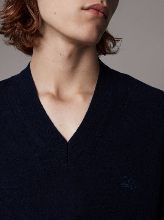 Cashmere V-neck Sweater in Navy - Men | Burberry - cell image 1
