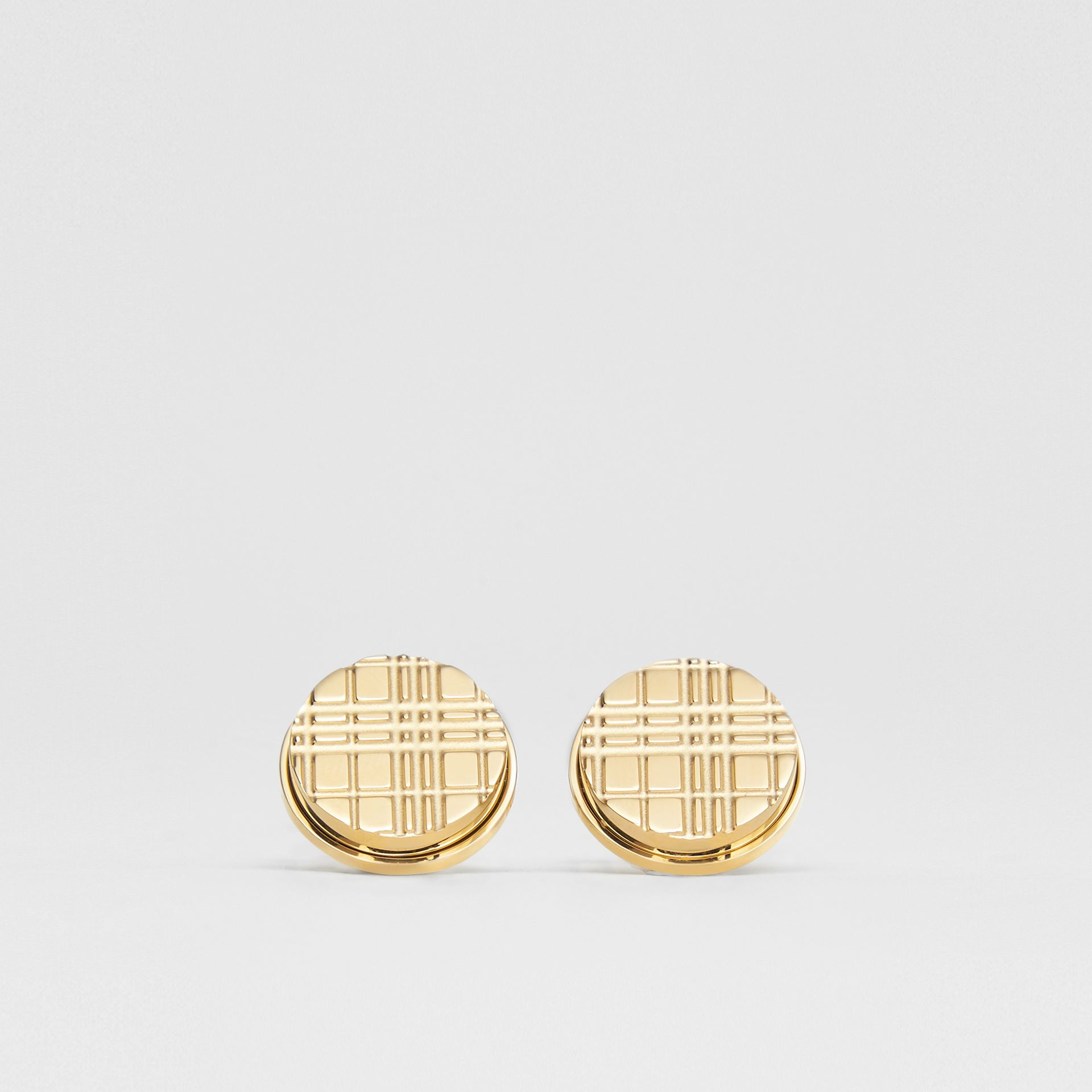 Gold-plated Check-engraved Round Cufflinks in Light - Men | Burberry Hong Kong S.A.R - gallery image 0