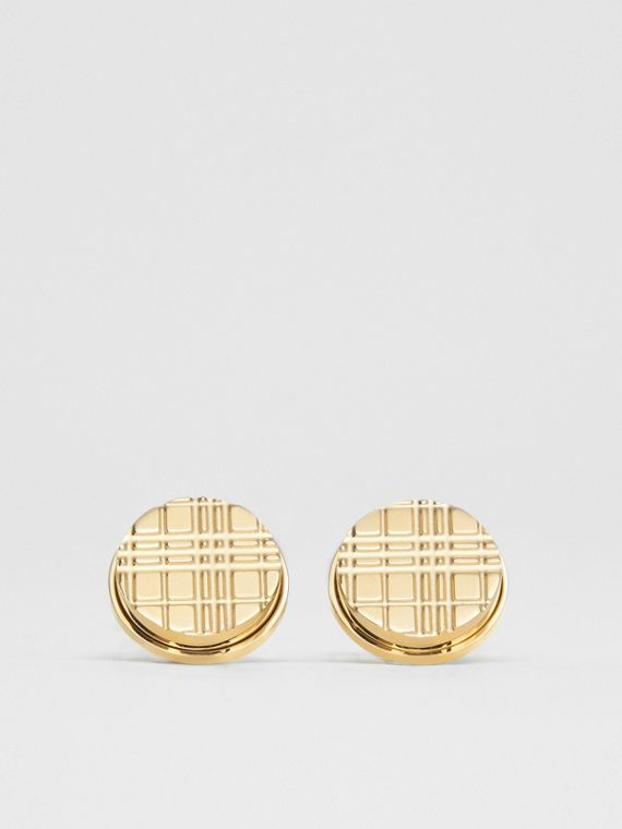 Gold-plated Check-engraved Round Cufflinks in Light