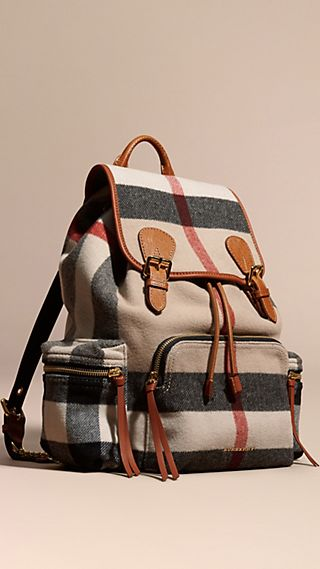 The Large Rucksack in Check Wool Blend and Leather