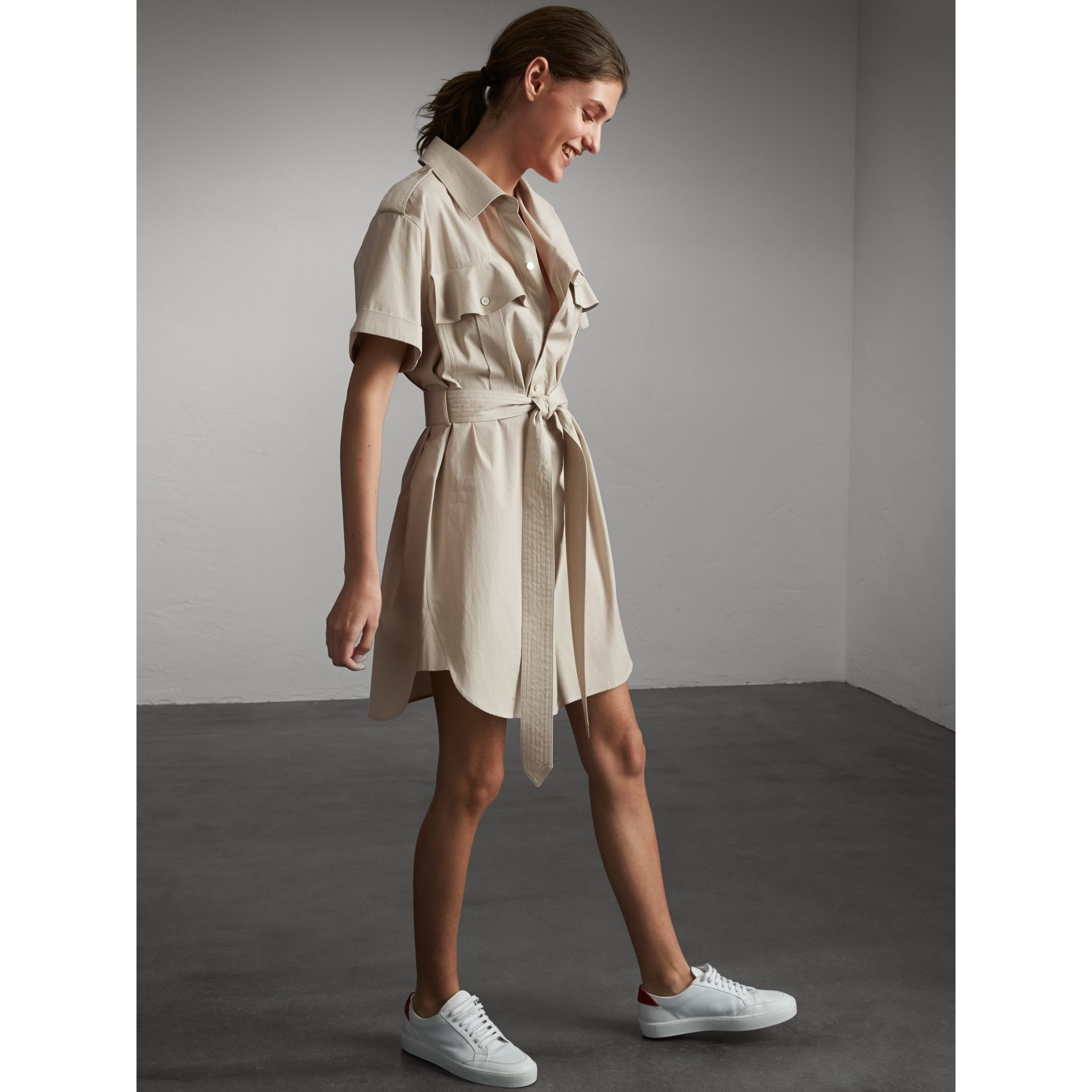Tie-waist Cotton Shirt Dress in Stone - Women | Burberry Canada - gallery image 1
