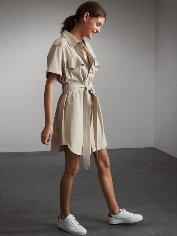 Tie-waist Cotton Shirt Dress