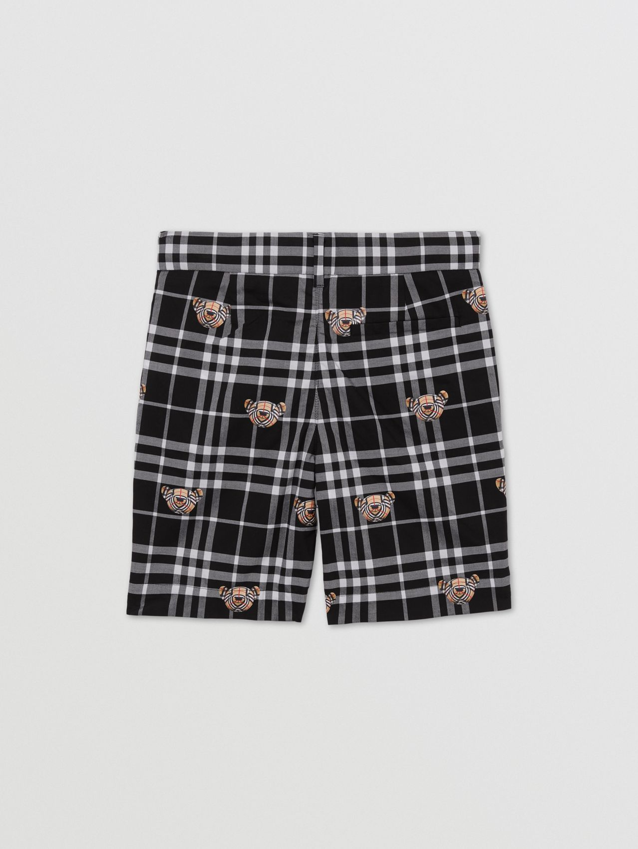 Thomas Bear Print Check Cotton Shorts in Black/white