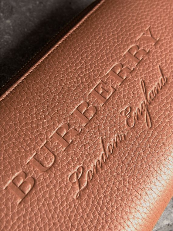 Embossed Grainy Leather Ziparound Wallet in Chestnut Brown - Men | Burberry United Kingdom - cell image 2