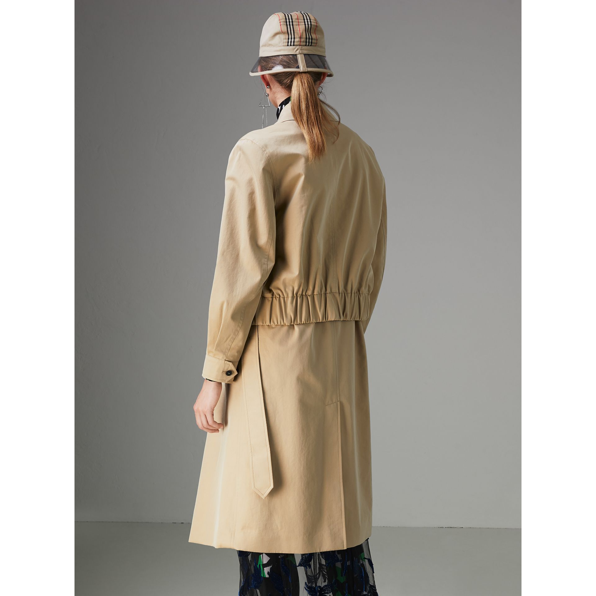 Tropical Gabardine Reconstructed Harrington Trench Coat in Honey - Women | Burberry - gallery image 2