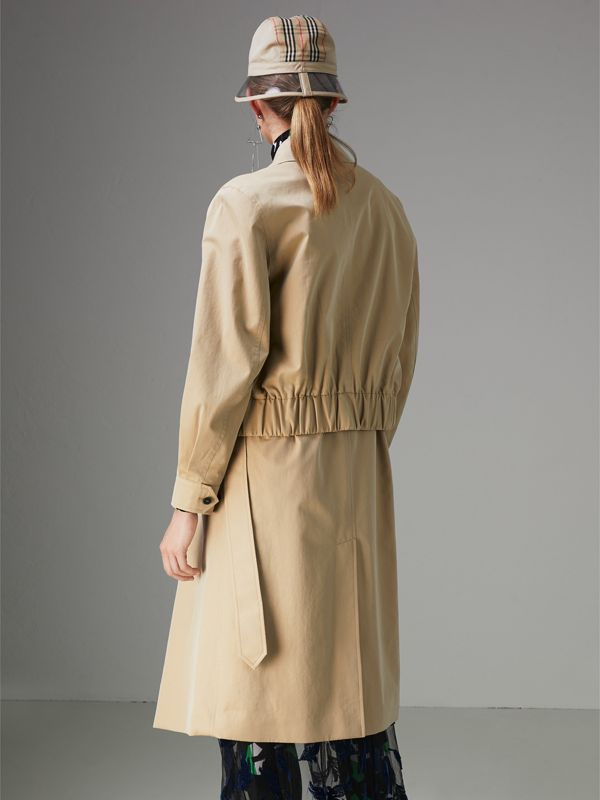 Tropical Gabardine Reconstructed Harrington Trench Coat in Honey - Women | Burberry - cell image 2