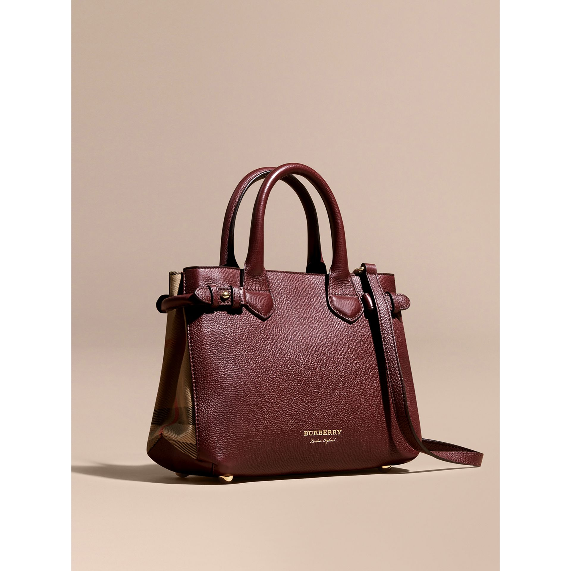 The Small Banner in Leather and House Check in Mahogany Red - Women | Burberry Singapore - gallery image 1