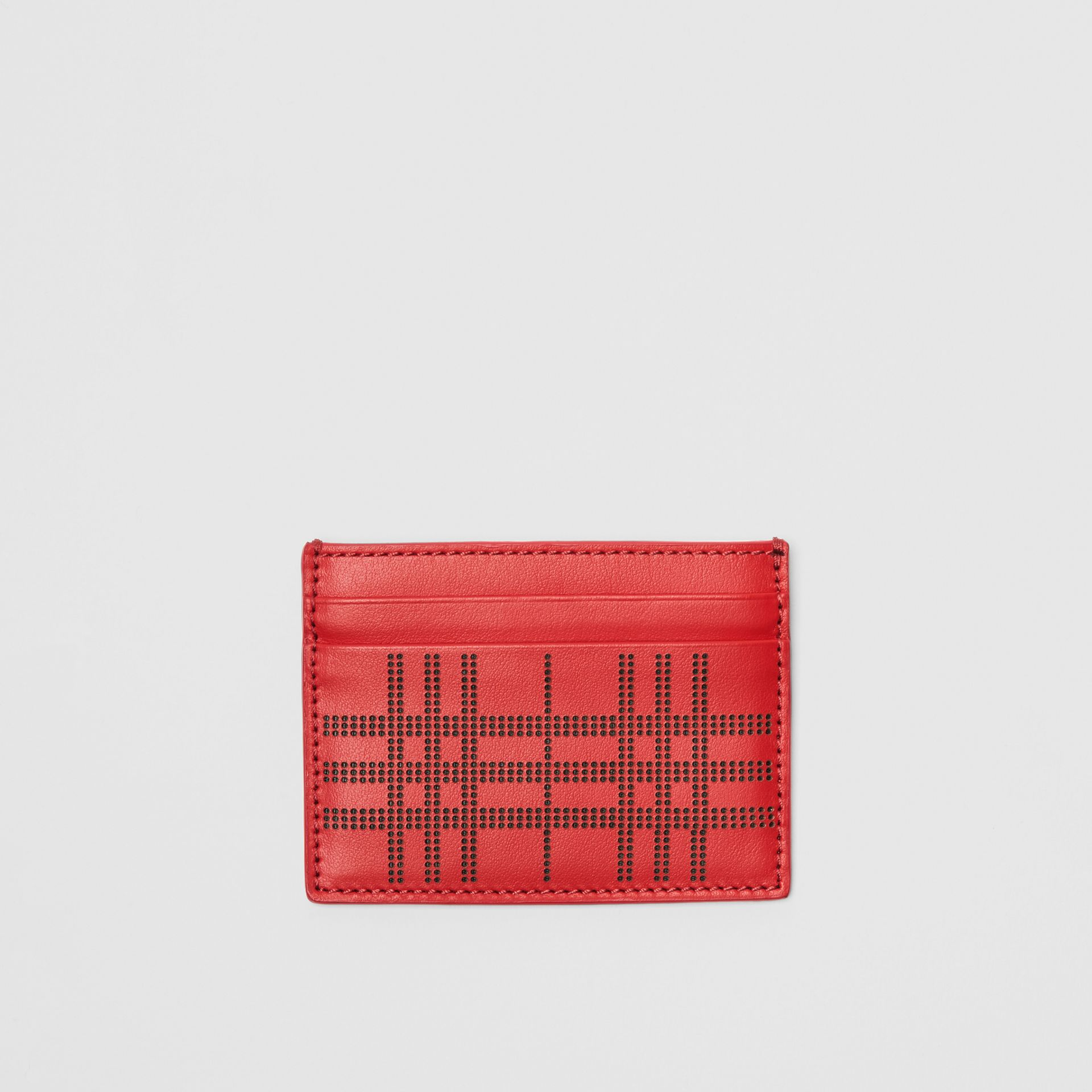 Perforated Check Leather Card Case in Rust Red | Burberry - gallery image 0