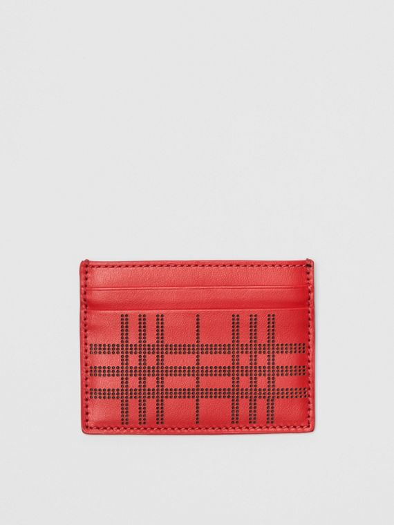 Perforated Check Leather Card Case in Rust Red