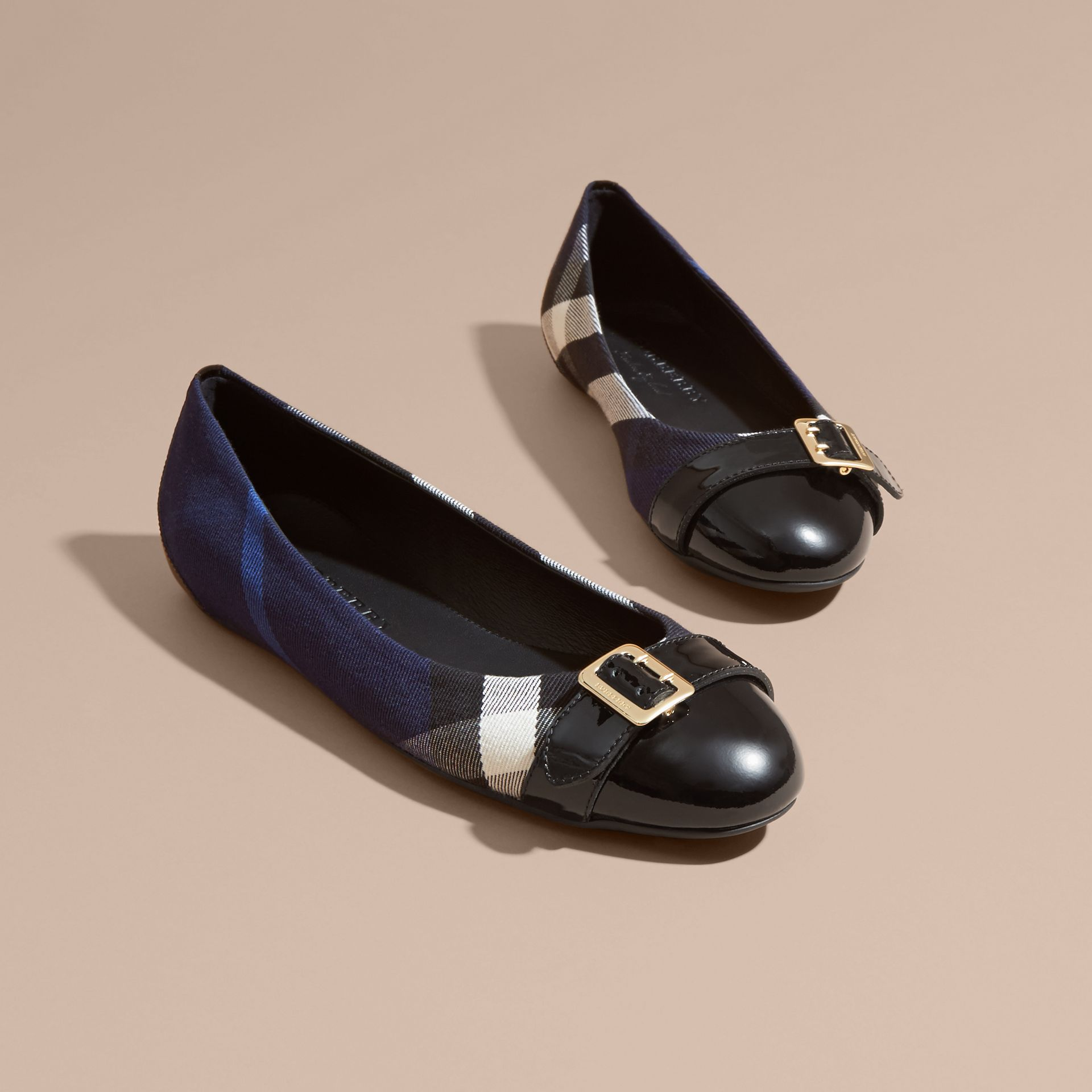 Buckle Detail House Check and Patent Leather Ballerinas in Indigo Blue - gallery image 3