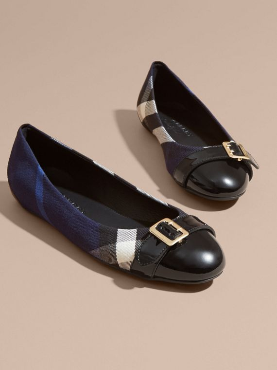 Indigo blue Buckle Detail House Check and Patent Leather Ballerinas Indigo Blue - cell image 2
