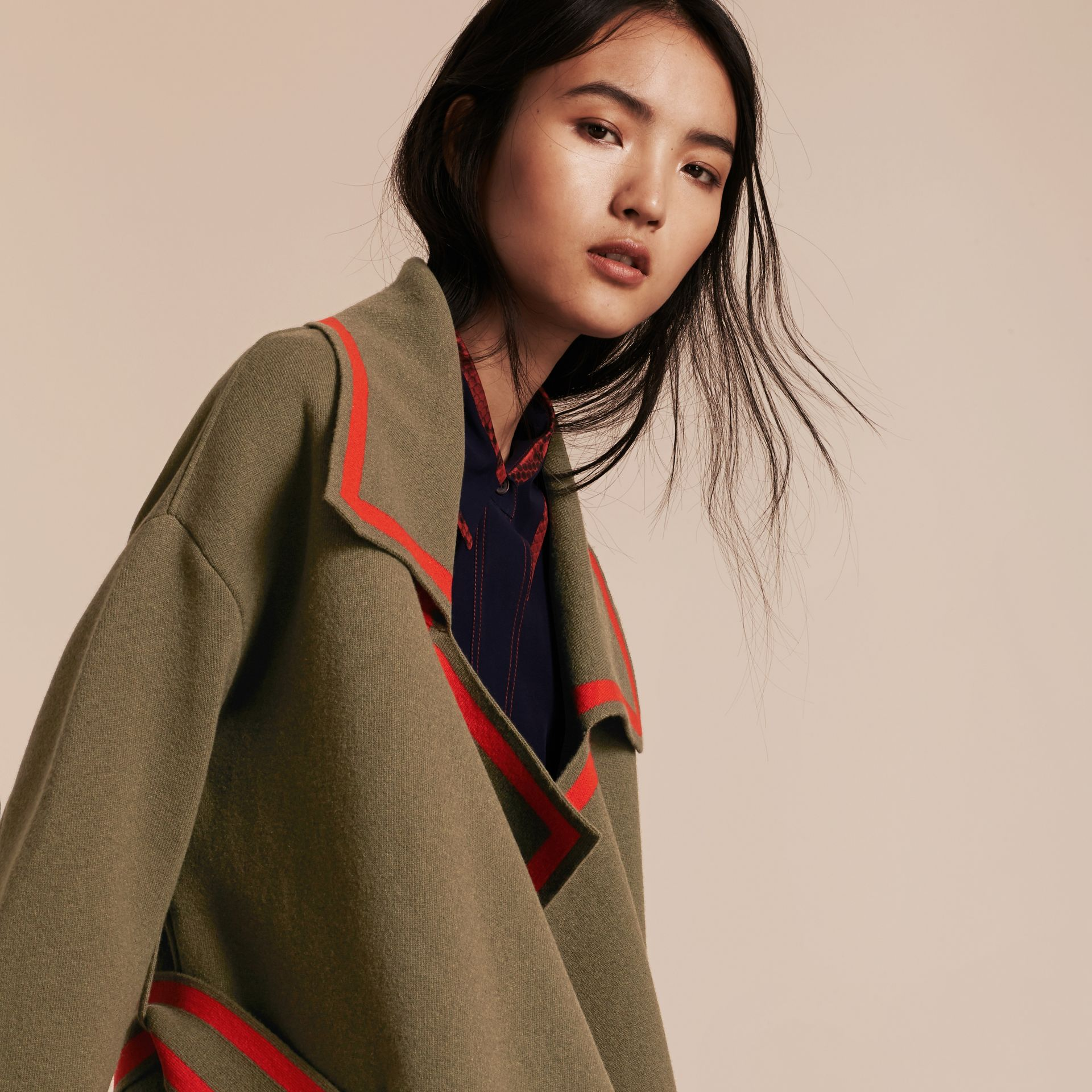 Military green Stretch Wool Cashmere Cardigan Coat with Shearling Collar - gallery image 5