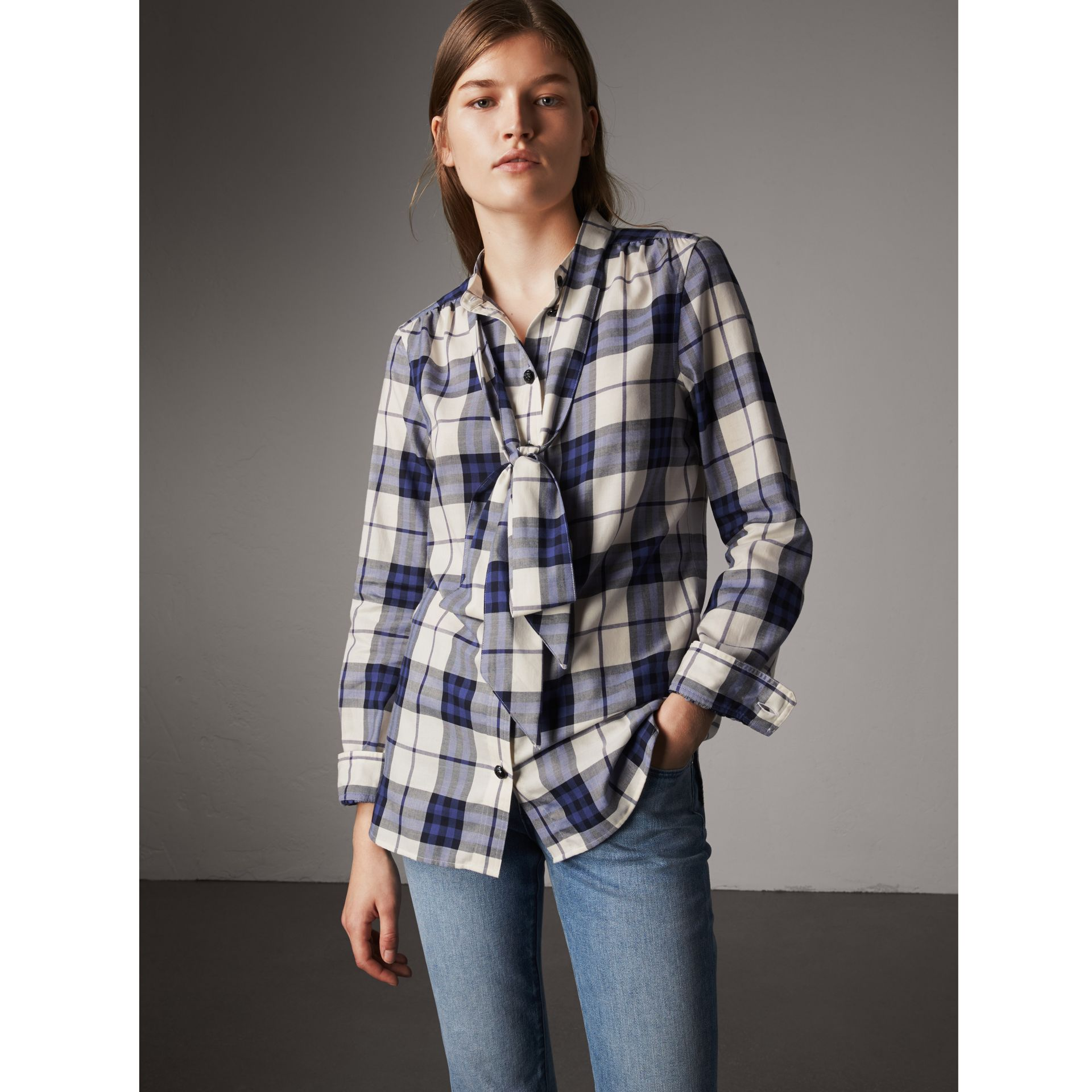 Pussy-bow Check Flannel Shirt in Bright Navy - Women | Burberry Hong Kong - gallery image 1