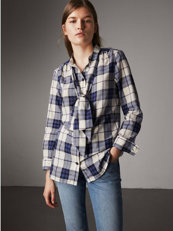 Pussy-bow Check Flannel Shirt in Bright Navy