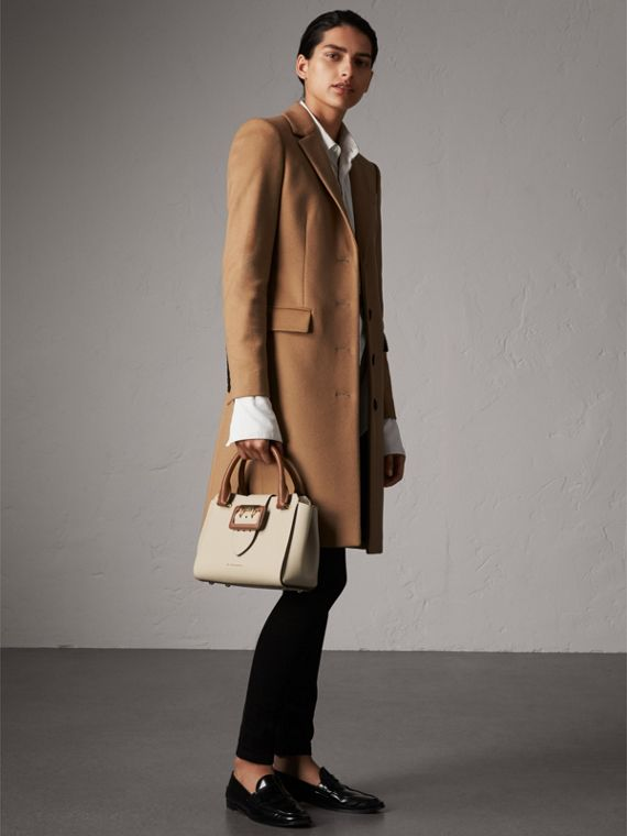 The Small Buckle Tote in Two-tone Leather in Limestone - Women | Burberry United Kingdom - cell image 3