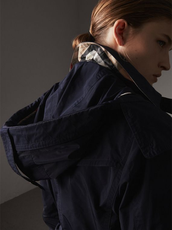 Taffeta Trench Coat with Detachable Hood in Navy - Women | Burberry Australia - cell image 3