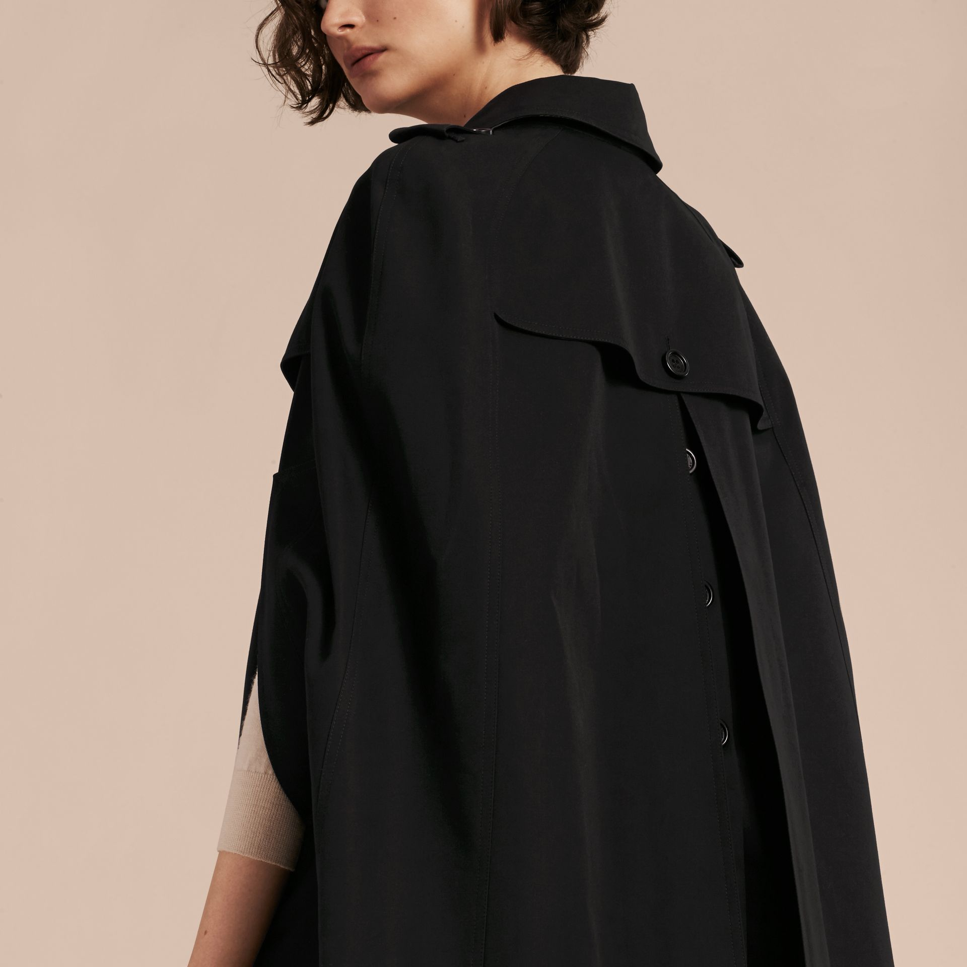 Black Cotton Gabardine Trench Cape Black - gallery image 6