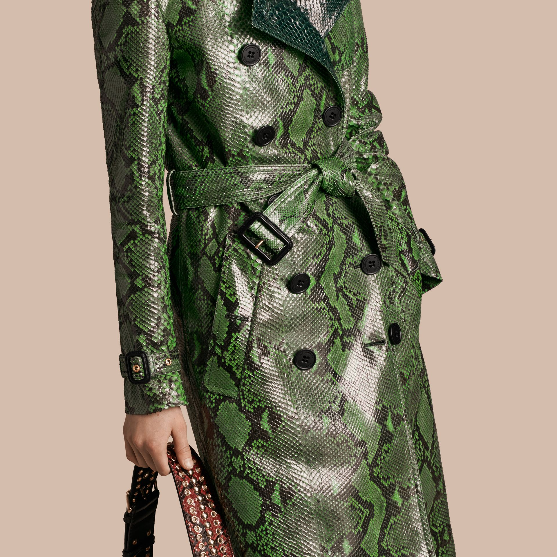 Bright green Unlined Python Trench Coat - gallery image 5