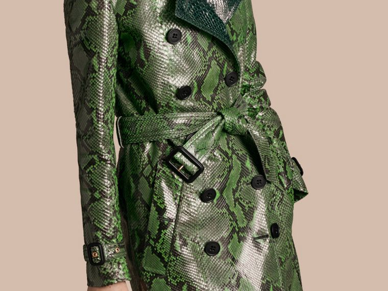 Bright green Unlined Python Trench Coat - cell image 4