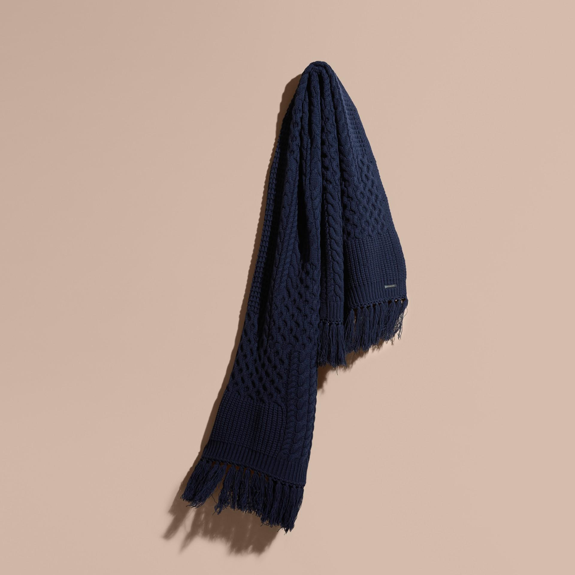 Dark navy Oversize Aran Knit Wool Cashmere Scarf - gallery image 1