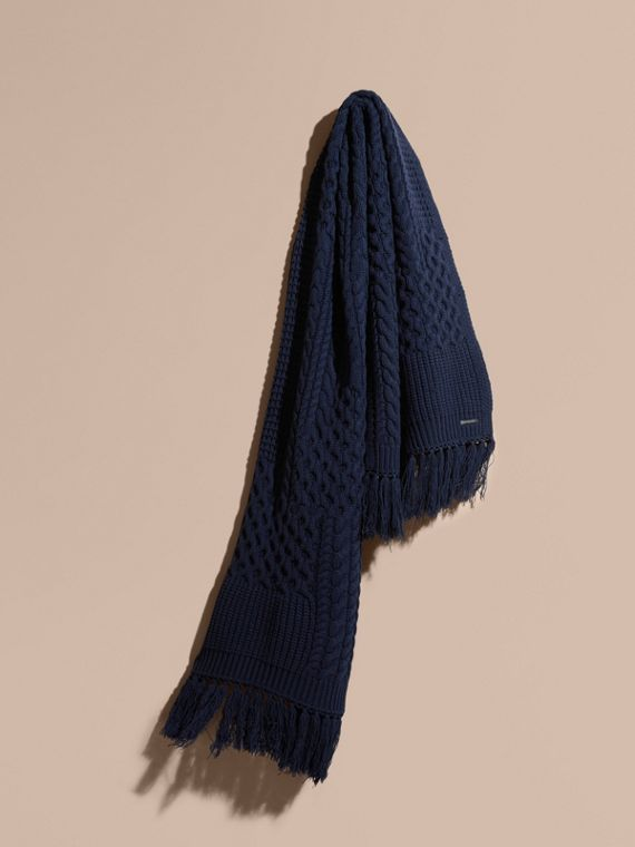 Oversize Aran Knit Wool Cashmere Scarf