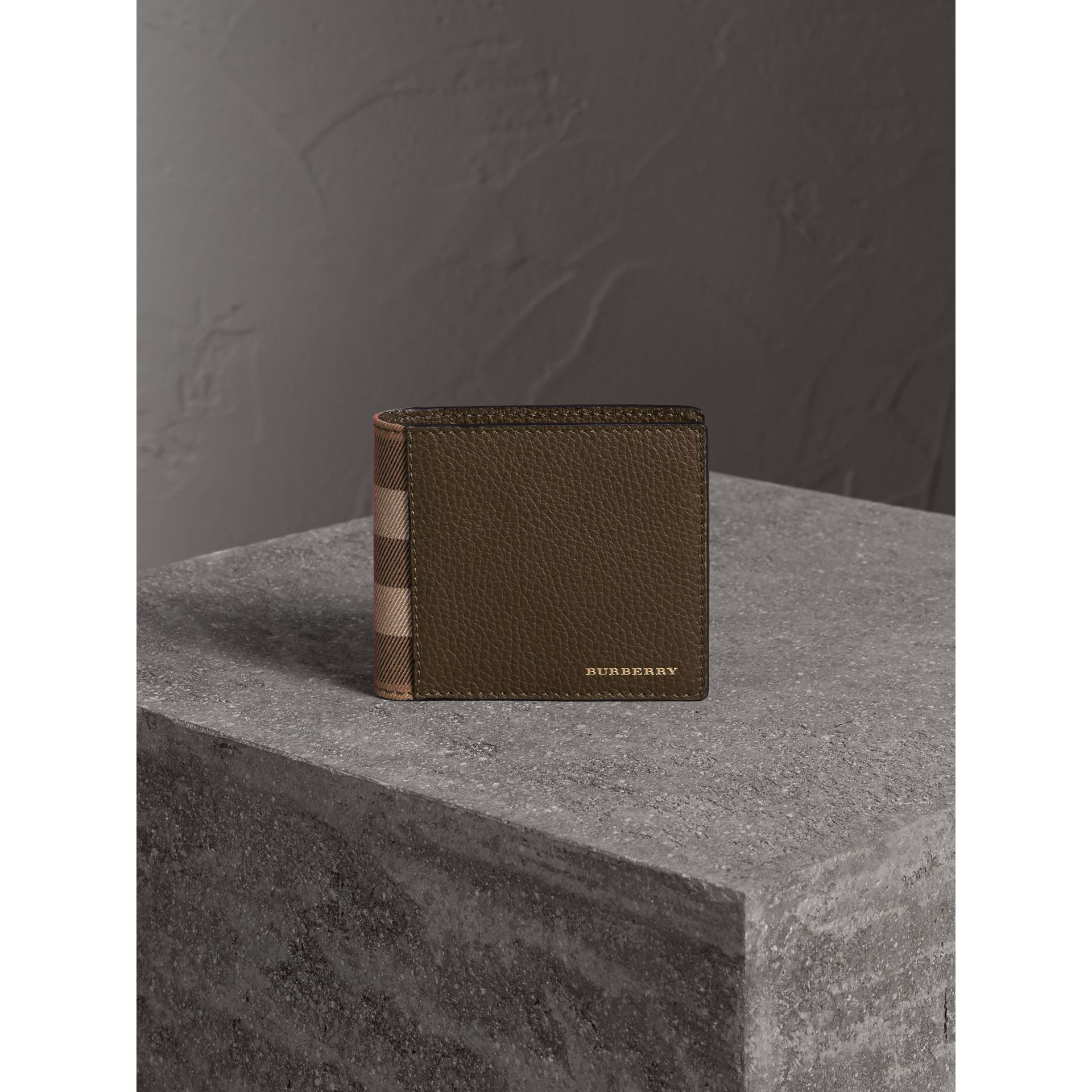 Leather and House Check International Bifold Wallet in Sage - Men | Burberry - gallery image 4
