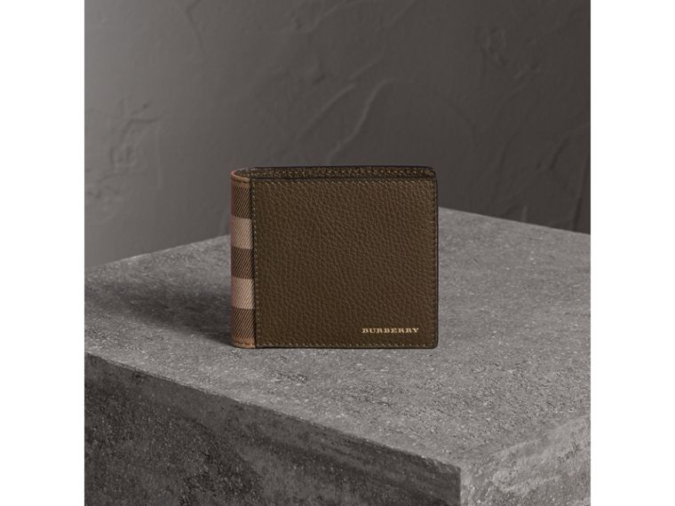 Leather and House Check International Bifold Wallet in Sage - Men | Burberry - cell image 4