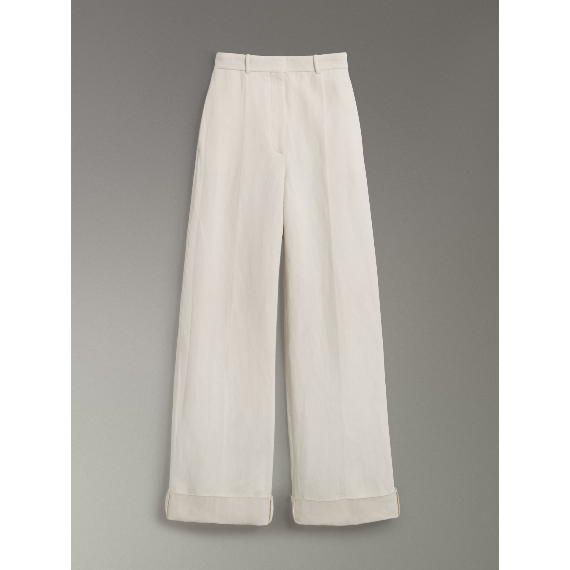 Cotton Linen Canvas Wide-leg Trousers in Off White - Women | Burberry - gallery image 3