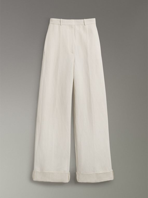 Cotton Linen Canvas Wide-leg Trousers in Off White - Women | Burberry - cell image 3