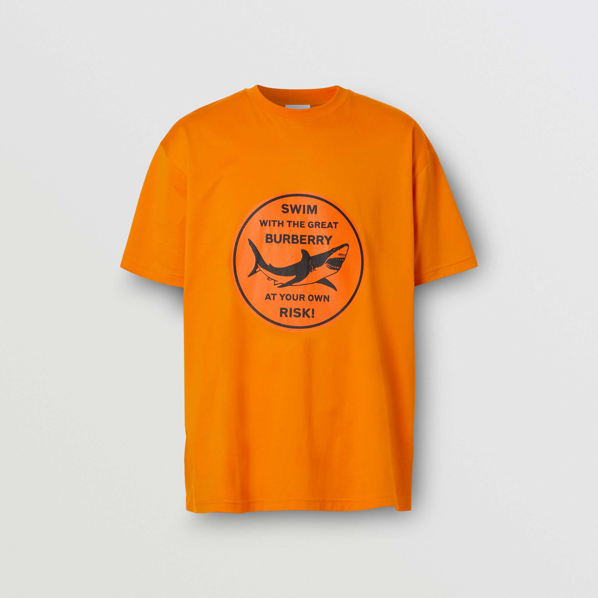 Shark Graphic Cotton Oversized T-shirt in Deep Orange - Men | Burberry United States - 4
