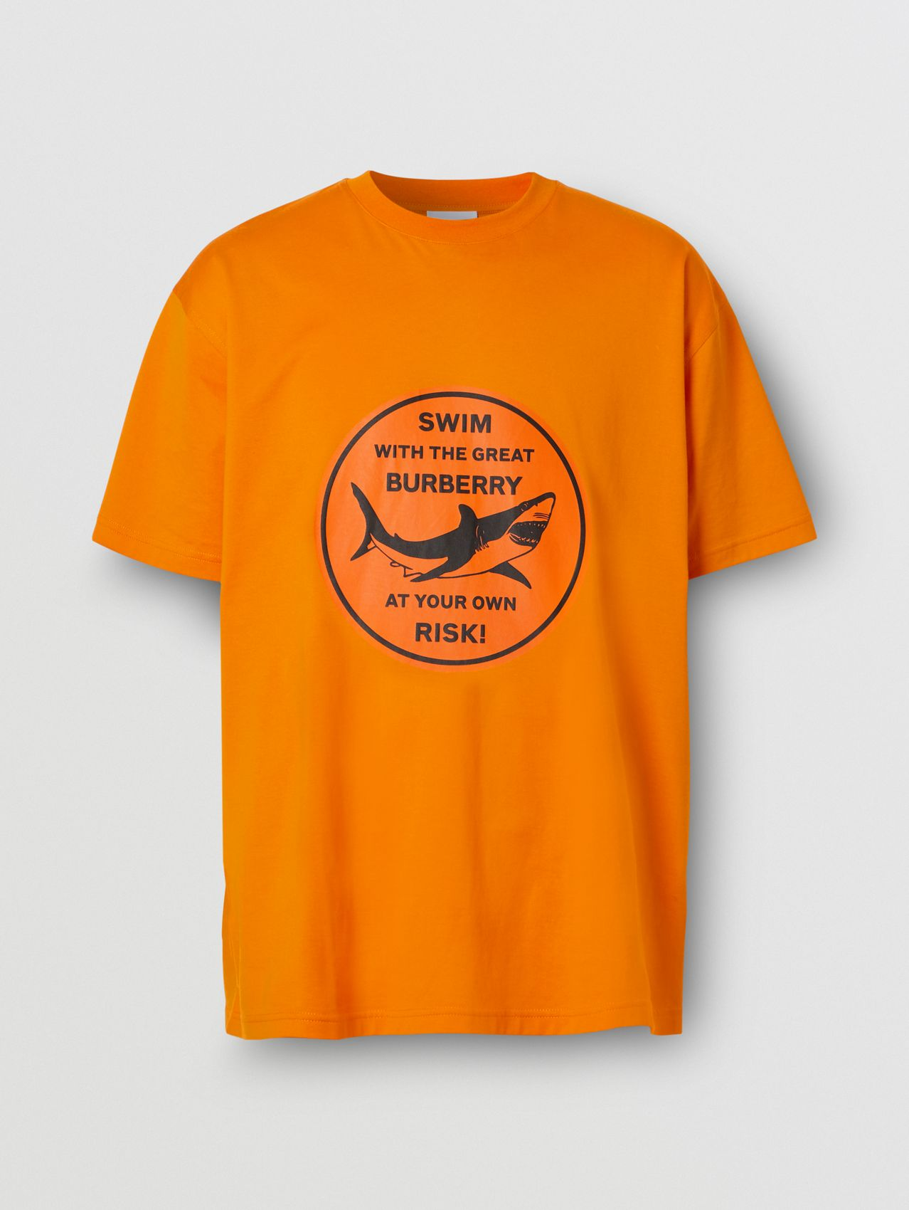 Shark Graphic Cotton Oversized T-shirt in Deep Orange