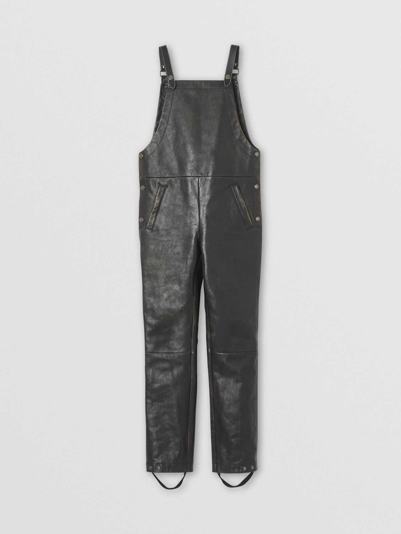 Leather Bib-front Trousers in Black