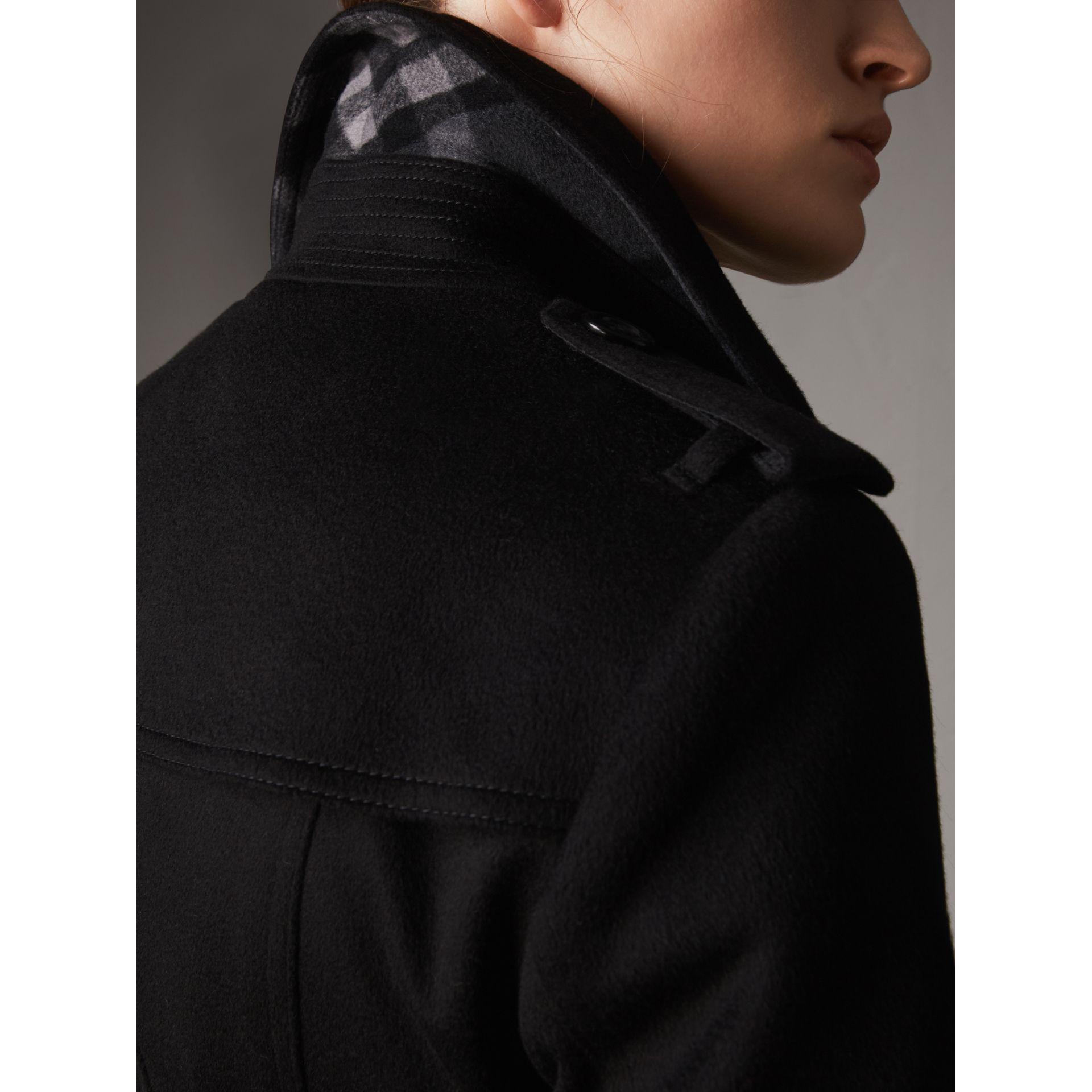 Sandringham Fit Cashmere Trench Coat in Black - Women | Burberry Canada - gallery image 1