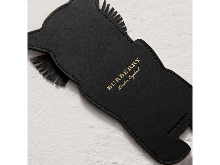 Rufus The Cat Leather and Haymarket Check Bookmark in Black | Burberry United Kingdom - cell image 2